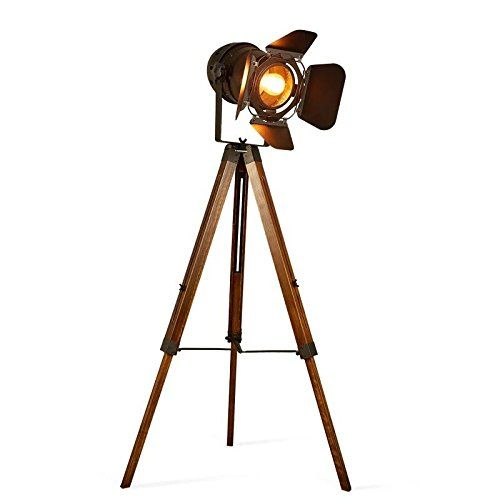 Copper Antique Touch Home Lighting Wall Focus Lamps on Stand Wooden Tripod Decor