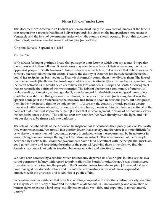 Simon BolivarS The Jamaican Letter  Unit V