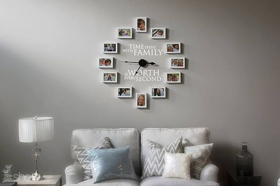Time Spent with Family Clock! #uppercaseliving #vinyllettering #walldecor #uppercaselivingclock #clockwithframes #clockwithpictures reneech.uppercase...