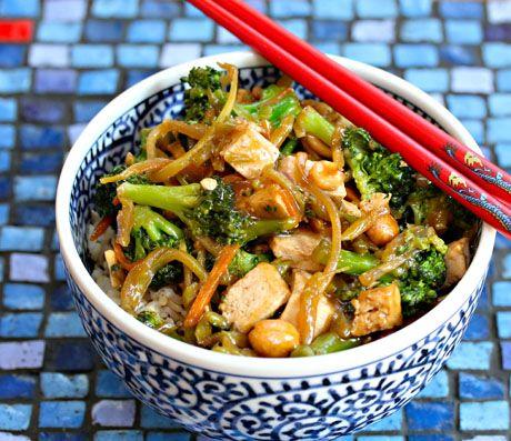 Broccoli Tofu Stir-Fry with Brown Rice via The Perfect Pantry