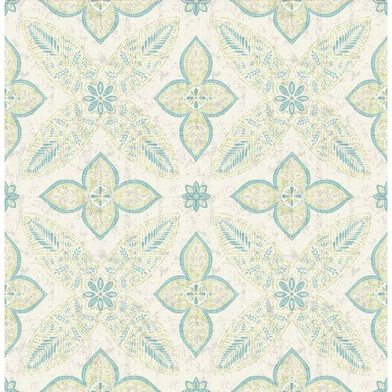 A - Street Prints Kismet Off Beat Ethnic Geometric Floral Wallpaper Cream / Turquoise - 1014-001829