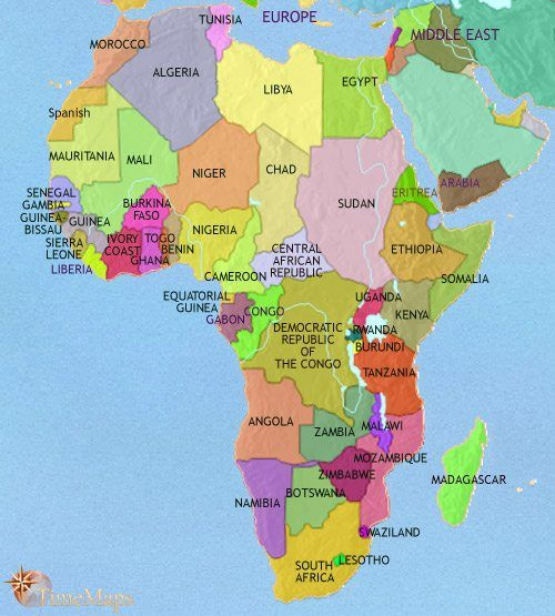 Map Of Africa 2005 Africa 2005 AD from TimeMaps.| Africa map, African empires, Map