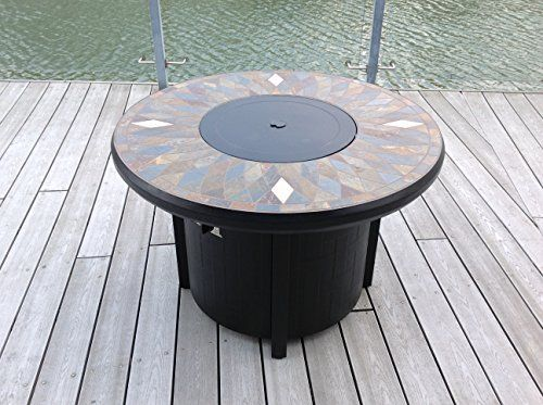 42 Natural Slate And Copper Top Outdoor Round Propane Fire Pit Table Bronze In 2020 Fire Pit Table Propane Fire Pit Table Diy Fireplace
