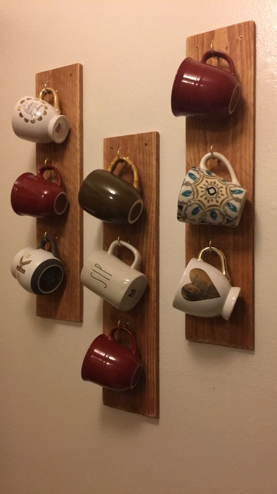 Coffee mugs, mug holder, coffee bar, mug rack, diy mug rack