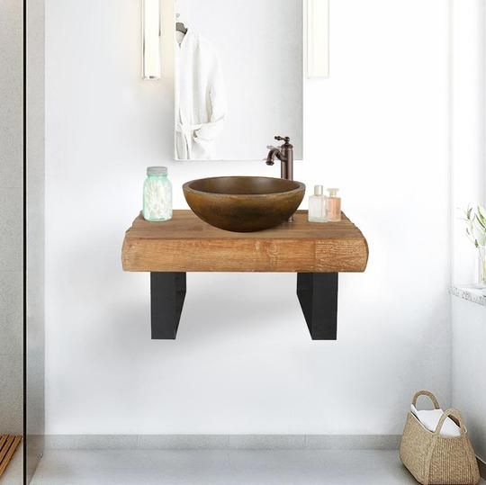 24 Auter Recycled Teak Wood Wall Mount Vanity For Vessel Sink
