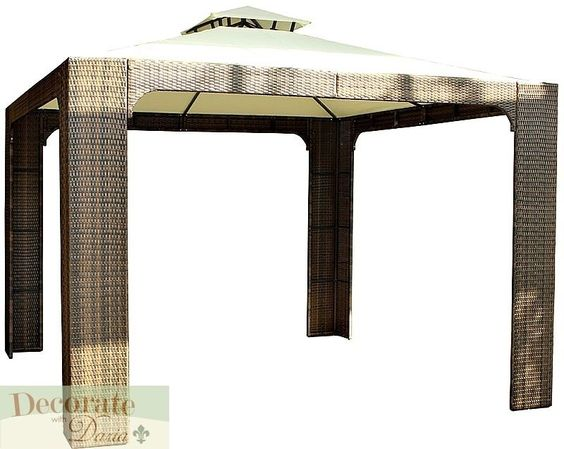 GAZEBO OUTDOOR SHELTER CANOPY 10'x10x10' PE Rattan Wicker Tent Awning Garden New #SGS