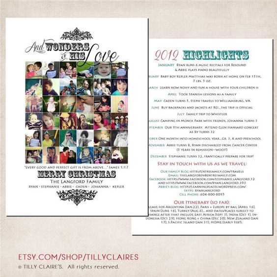 2-sided Custom Instagram Collage Christian Christmas / Holiday Photo Card and Year End Letter / Newsletter / Family Update w/ Scripture by TillyClaires on Etsy, $25.00