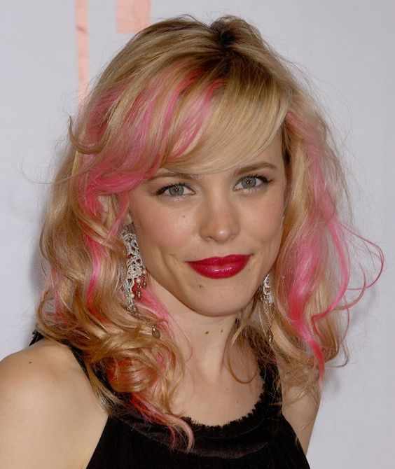 Pin for Later: The Future's Bright: Celebrities With Coloured Streaks, Dip Dyes, and Pastel Hair Rachel McAdams Early in her career (the Ryan Gosling years!) Rachel experimented with pink streaks in her wavy blonde locks.