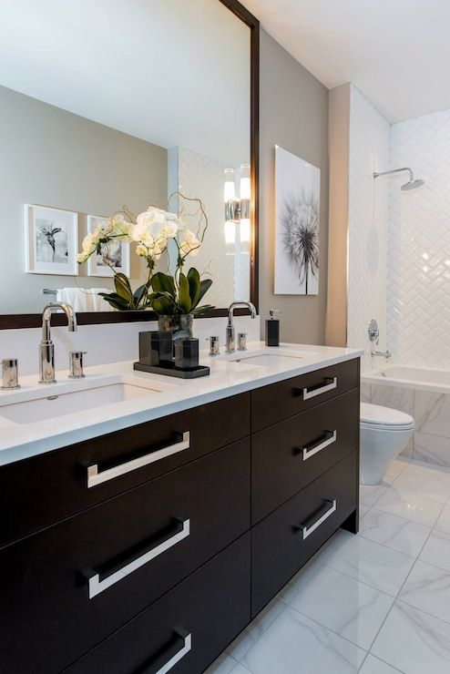 Atmosphere Interior Design   bathrooms   gray walls  gray wall color  black and white. Guest bathroom Madison Taylor Design   bathrooms   white and grey