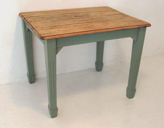 Antigua mesa de campo inglesa con p tina en verde seco - Mesas de campo ...