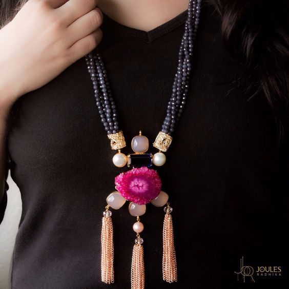 This extravagant beauty with beads, precious stones and gold tassels says everything about elegance.  #JoulesByRadhika #Jewellery #Love #Neckpiece #Necklace #StatementNeckpiece #Stones #Pink #GoldTassels #Beads #JewellerLove #Designer #IndianDesigner #IndianJewellery #Extravagant #Elegance #Instaglam #Instalove #Instalike