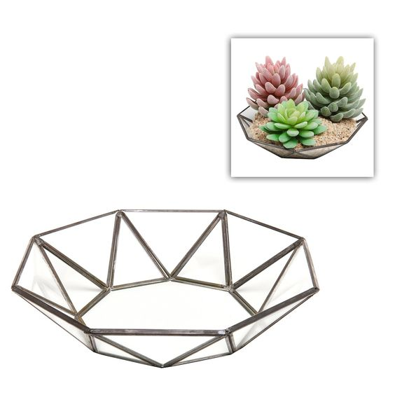 Small Faceted Glass Centerpiece Bowl / Leaded Glass Accent Décor Tray - MyGift® -- Details can be found at http://www.amazon.com/gp/product/B00U0J6UGE/?tag=pinhomedecor-20&pcd=180716214848