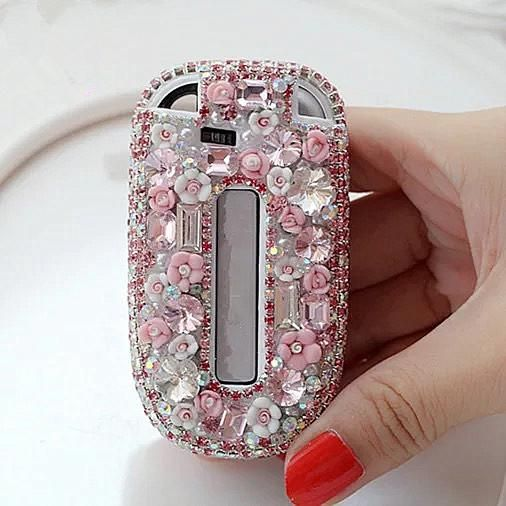 Bling Jeep Dodge Opened Back Key Fob Cover With Rhinestones For