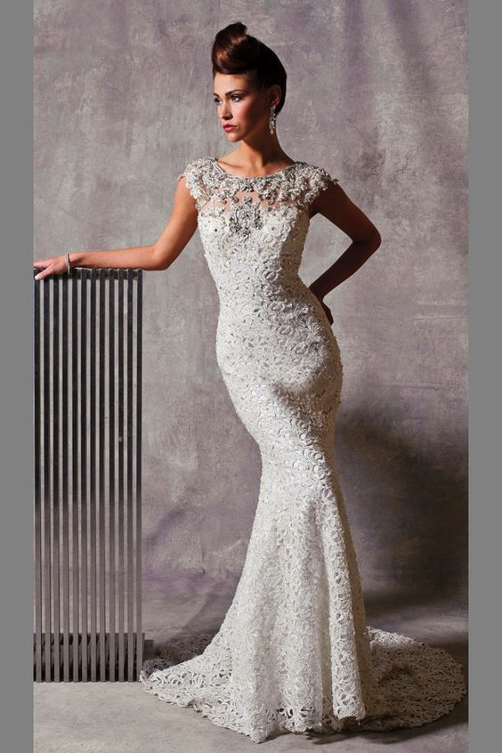 1-Stephen-Yearick-Bridal-Gown-Lace-Sheath-Beaded-Illusion-Cap-Sleeve ...