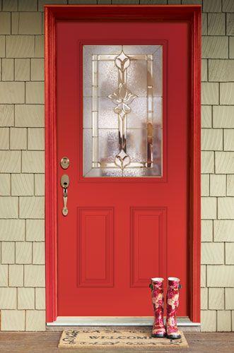 River Doors Feather River Door Bellante Wrought Iron: Feather River Door Medina Entry Door Painted In Poinsettia