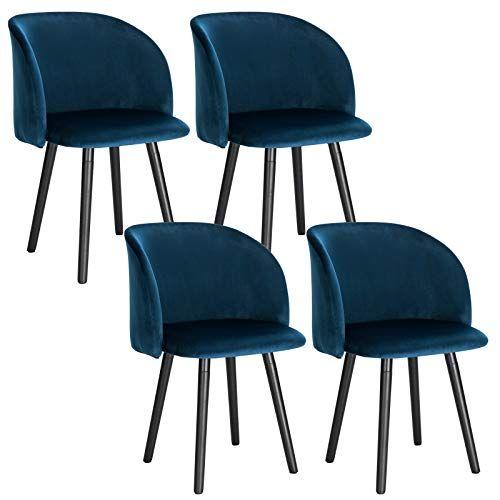 Woltu Lot De 4 Chaise De Cuisine En Velours Fauteuil De Repas Salle A Mangerbleu Bh121bl 4 Chaise Cuisine Salle A Manger Bleue Chaise