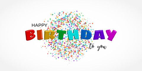 Happy Birthday Vector Design For Greeting Card And Poster Color