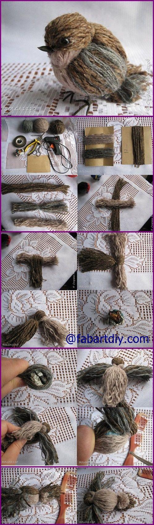 How to DIY Cute Yarn Birdie | www.FabArtDIY.com #Crafts, #Yarn Video Included=> http://www.fabartdiy.com/how-to-diy-cute-yarn-birdie/: