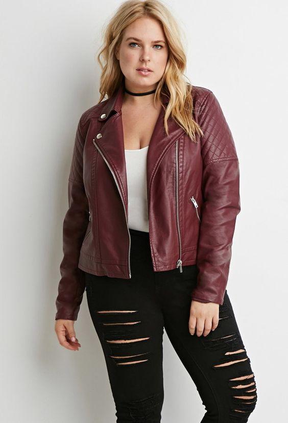 Women's plus faux leather jacket
