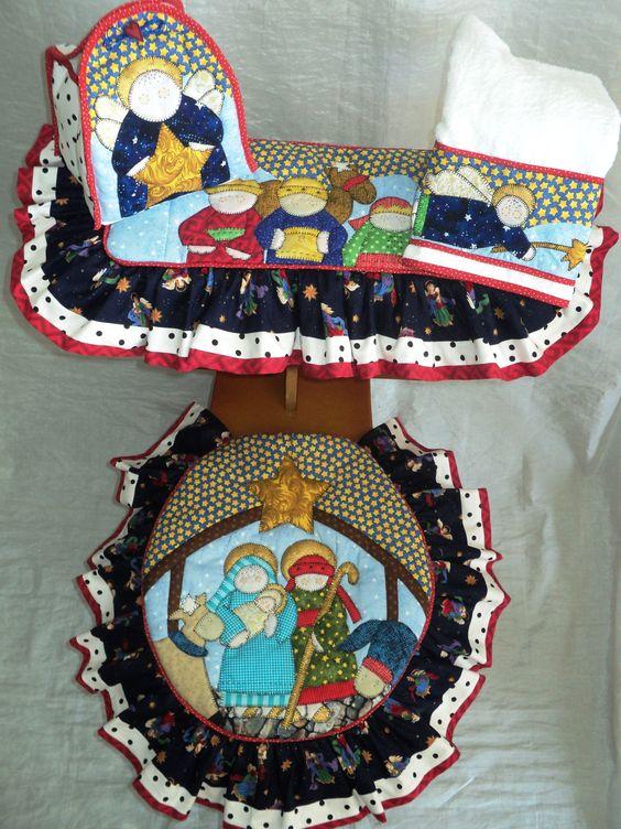 Lenceria Juegos De Baño De Navidad:SET DE BAÑO DE PESEBRE: TAPA DE POCETA, TAPA DE TANQUE, TOALLA