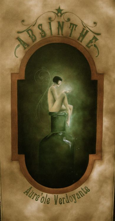 """""""Green Halo Absinthe"""" 24""""x48"""" oil on canvas. 2009. I'm brewing ideas for a series of Golden Age absinthe poster designs I hope to start after the new year. This was one of my first attempts at working on canvas."""