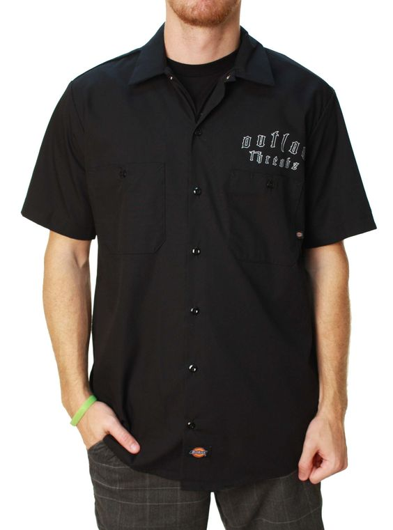 Outlaw Threadz Men's The Finger Dickies Button Up Shirt