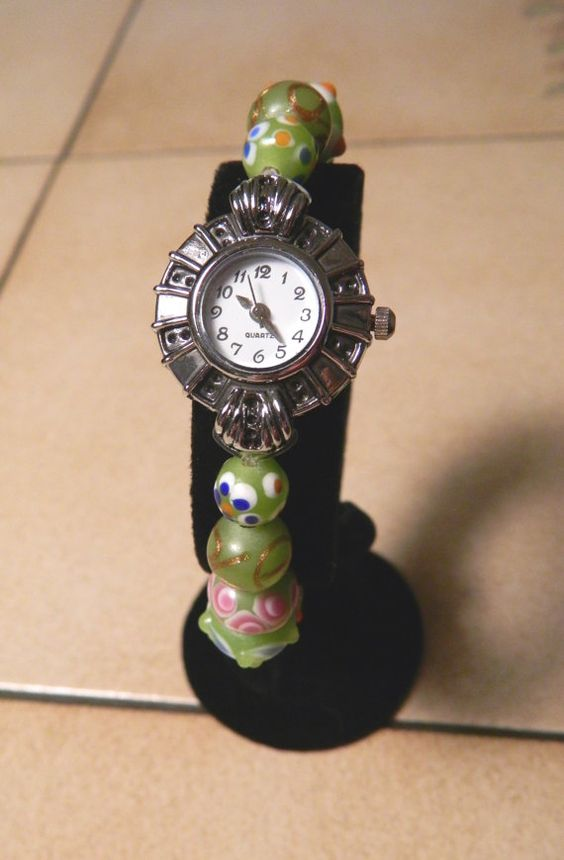Watch with Lampwork Spring Green  Beads with by FusedGlassRocks, $20.00