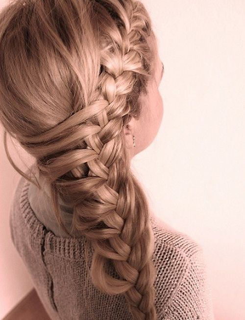 Side french braid. Interesting... need to try this for school.