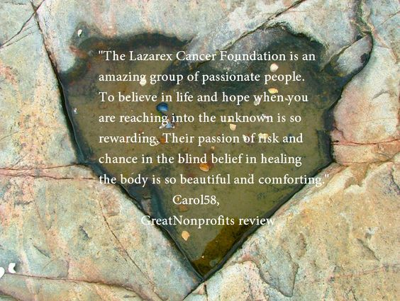 One of many 5 star reviews of Lazarex Cancer Foundation on GreatNonprofits. To write  or read reviews go to http://greatnonprofits.org/organizations/view/lazarex-cancer-foundation