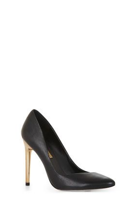 Black Pumps Gold Heel  Tsaa Heel