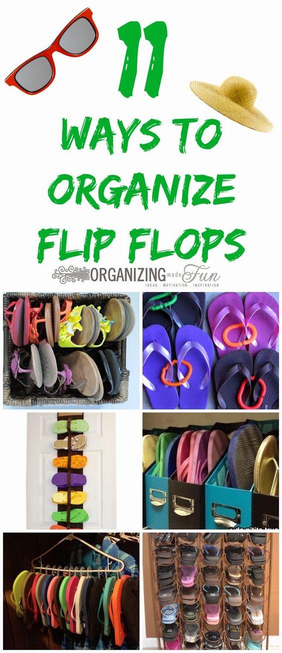 11 Ways to organize flip flops :: OrganizingMadeFun.com