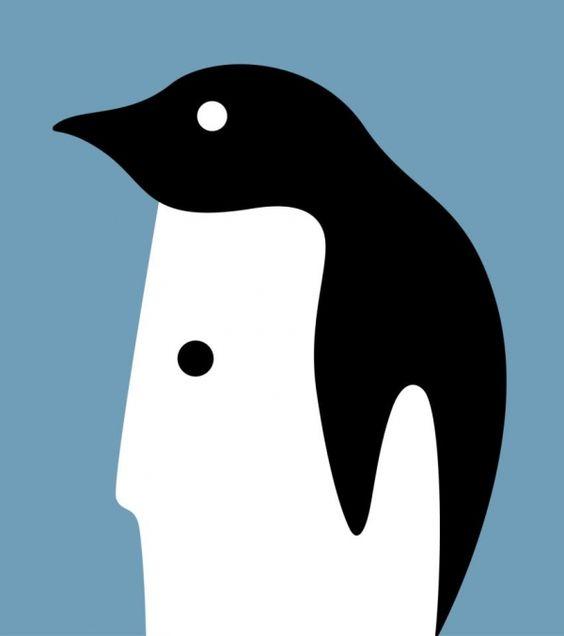 Réchauffement climatique, protégeons les manchots ! / Climate warming, let's protect the penguins ! / L'animal est une personne. / Dessin en espace négatif. / By Noma Bar.