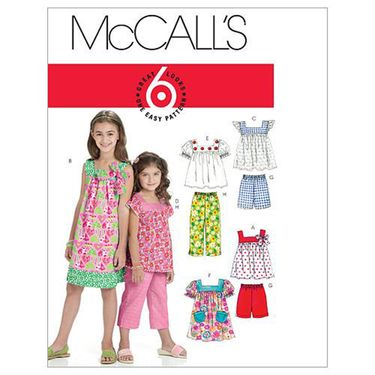 McCalls M6022 Girls' Tops, Dresses, Shorts & Pants