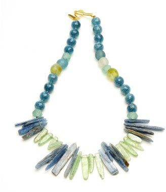 Wendy Mink Lapis and Prehnite Dagger Necklace
