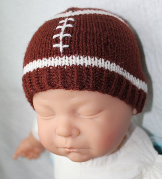 Knit Hat Patterns Not In The Round : KNITTING PATTERN - Football Baby Hat Size 0 to 3 and 6 to 12 Months Knitted i...