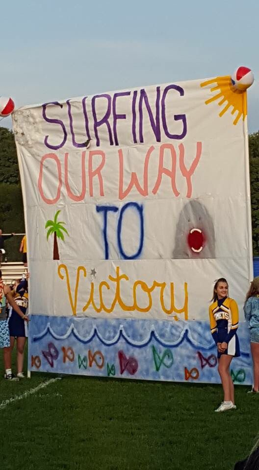 Beach Theme Run Thur Pep Rally Themes Cheerleading Signs Cheer Signs