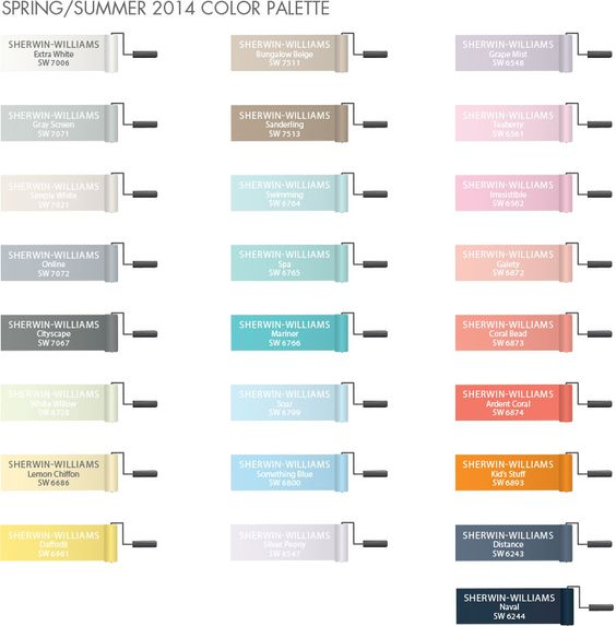 All of the Pottery Barn Kids paint colors.  Not just for kids either! There are some gorgeous colors here.