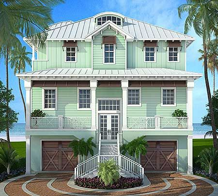 Plan 86008BW Stylish Beach House Plan Entry stairs House plans