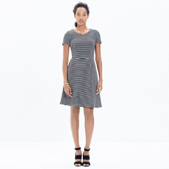 "Madewell dress in stripes Meet the dress you'll want to wear everywhere—with its swingy skirt, just-right short sleeves and stretchy, substantial knit fabric, this one is a forever favorite in yarn-dyed stripes.   •Waisted. •Falls 36 1/4"" from shoulder. •Viscose/poly. Madewell Dresses"