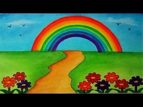 How To Draw Garden Scenery With Rainbow Beautiful Garden Drawing Youtube Flower Drawing Scenery Drawing For Kids Landscape Drawing Easy