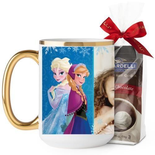 Disney Frozen Anna And Elsa Mug, Gold Handle, with Ghirardelli Premium Hot Cocoa, 15 oz, Blue
