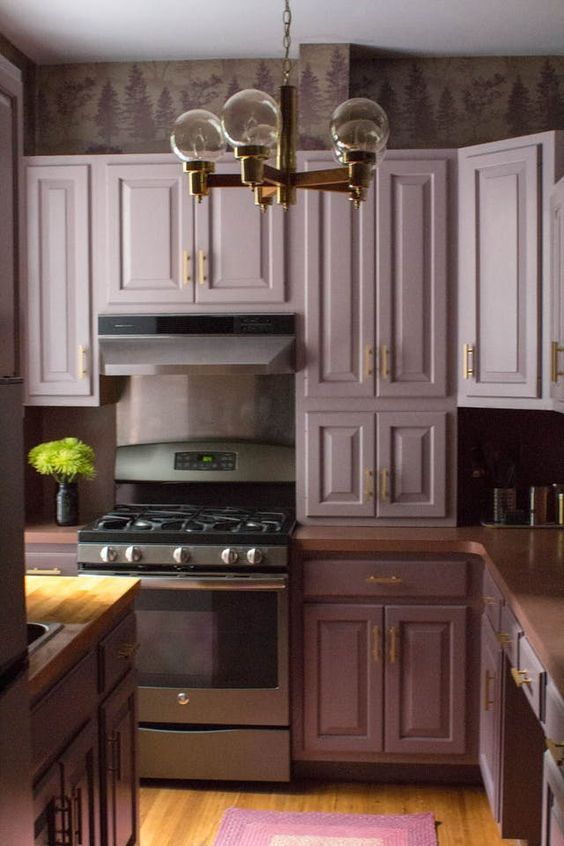 Before After So Brave So Good Purple Reigns In A Nyc Kitchen Purple Kitchen Purple Kitchen Cabinets Kitchen Remodel