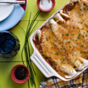 Veggie Enchiladas with Corn, Black Beans and Kale Recipe - my husband and I are always looking for healthy, easy foods. I will probably make this after Thanksgiving and will use all Organic Frozen Kale and corn, and black beans and Soy Cheese to make it a little healthier!