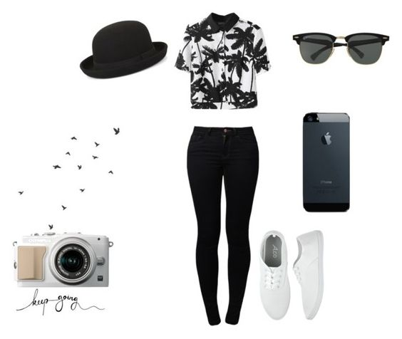 """Black and White"" by greenduv on Polyvore featuring Noisy May, BCBGMAXAZRIA, Ray-Ban, nobodycares, longtimenosee and Foreverlonely"