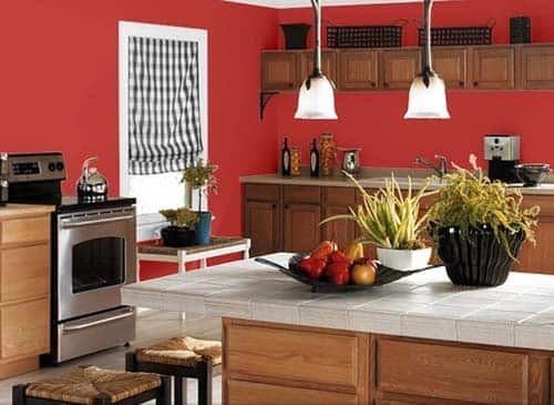 Sherwin Williams Make A Small Kitchen Look Bigger Red Kitchen Walls Kitchen Wall Colors Kitchen Paint
