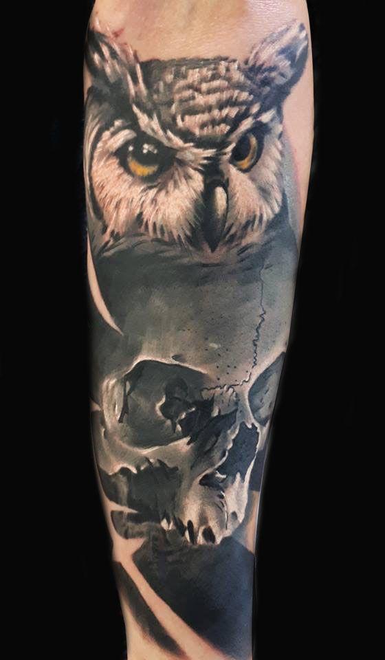 Owl Skull Tattoo Artist Patryk Kowalski Www Holytrinitytattoos Co Uk Holytrinitytattoos Gmail Com Send Us A M Owl Skull Tattoos Tattoo Studio Tattoos