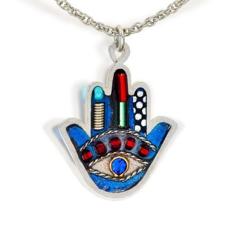 Seeka Petite Blue Hamsa Necklace to Protect from the Evil Eye, from The Artazia Collection N0624  Price : $60.00 http://www.artazia.com/Necklace-Protect-The-Artazia-Collection/dp/B000JUDPL2
