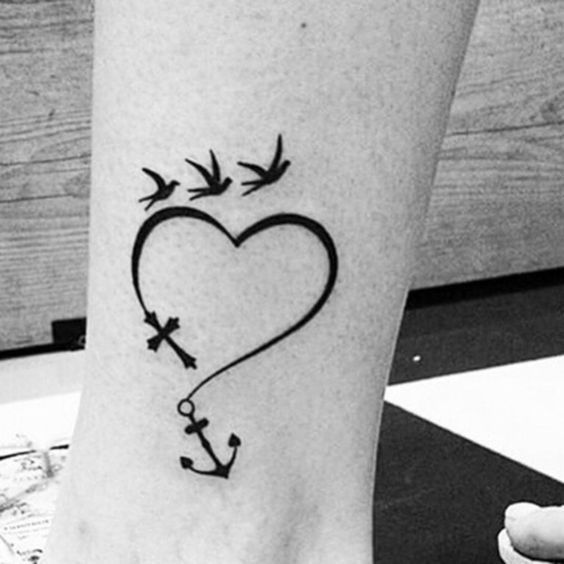 Free Spirit Heart Anchor And Birds Tattoo Tattoos Little