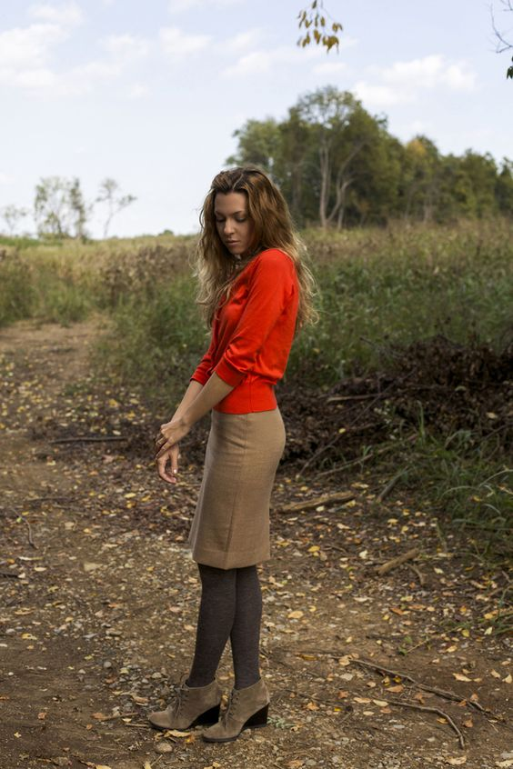 We love the idea of wearing a cute pencil skirt with tights and booties this Fall! #FallFashion