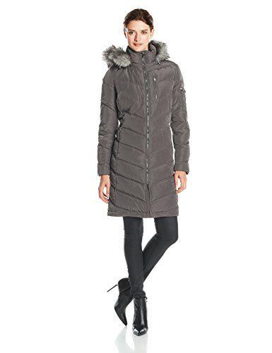 Calvin Klein Women&39s Mid Length Chevron Down Coat Titanium Large